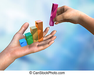 Bar chart in woman\'s hands