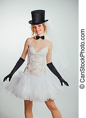 blonde bride in tophat with veil and long black gloves -...
