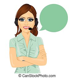 attractive female customer support phone operator with arms folded and speech bubble