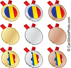 chad vector flag in medal shapes