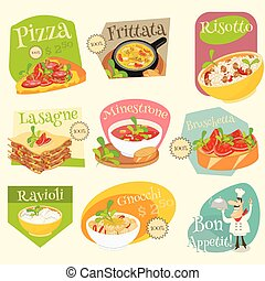 Italian Food Labels Set - Italian Traditional Food Set....
