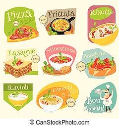 italiano, cibo, ETICHETTE, set,