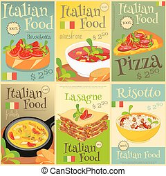 Italian Food Posters Set - Italian Food Menu Card with...