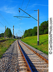Railroad tracks in summer