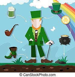 Leprechaun in the meadow - Leprechaun in green clothes with...