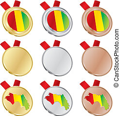 guinea vector flag in medal shapes