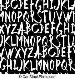 Handwritten Alphabet Seamless Pattern. On black background