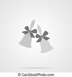 Vector Gray Bells Flat Icon over light gray background...