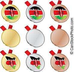 kenya vector flag in medal shapes