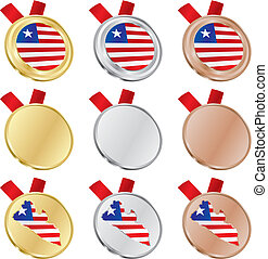 liberia vector flag in medal shapes - fully editable liberia...