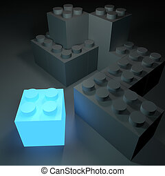 Glowing Building Block - Conceptual image with a glowing...