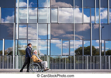 Disabled grandfather and his grandchild - Image of disabled...
