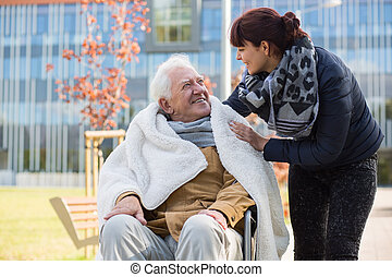 Elderly man and his daughter - Photo of elderly man and his...