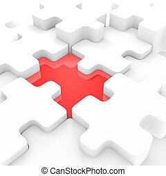 Connecting Puzzle - A red puzzle piece standing out from the...