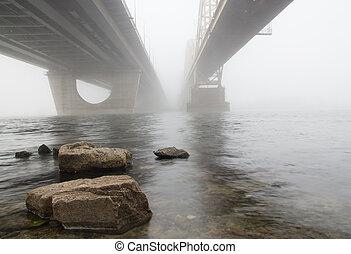 Two bridges in a fog