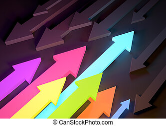 Arrows and Directions - colourful glowing arrows pointing in...
