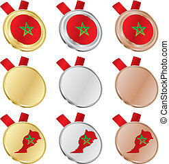 morocco vector flag in medal shapes - ully editable morocco...