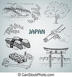 japanese illustration - vector illustration of engraving...