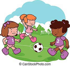 Girls playing soccer - Little girls play football on the...