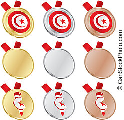 tunisia vector flag in medal shapes