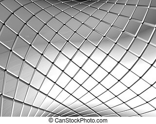 Abstract silver square pattern background with reflection 3d...