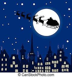 Claus, rendier, door, kerstman, nacht, arreslee, Kerstmis