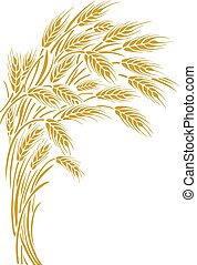 Wheat ears frame, border or corner element. - Vector...