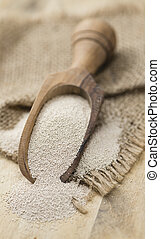 Dried Yeast - Portion of dried Yeast (close-up shot) on...