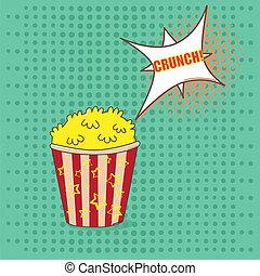 Pop art popcorn - Popcorn with taste speech bubble on green...