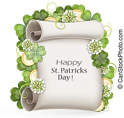 St. Patrick's Day invitation - Paper scroll, clover and gold...