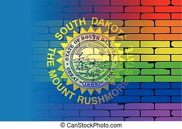 Rainbow Wall Dakota - A well worn wall painted with a LGBT...
