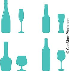 Alcohol bottles and glasses. - Alcohol bottles and glasses...