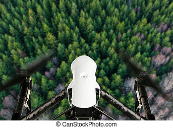 Drone with 4K camera flying - Drone with 4K camera flying,...