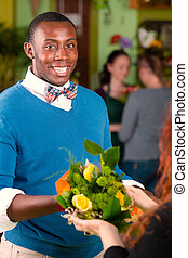 Flower Shop Customer Receiving Bouquet - Satisfied customer...
