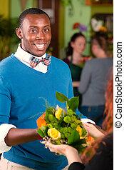 Flower Shop Customer Receiving Bouquet - Satisfied customer...