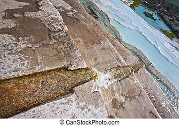 Channel in Hot Springs Pool at Pamukkale - Culvert cut in...