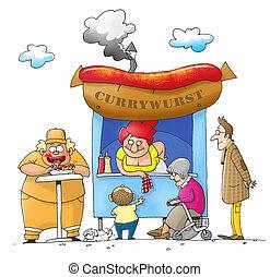 Currybude - Leute stehen an einer Currywurstbude