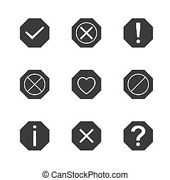 Set of icons and signs, symbols help, information, check,...
