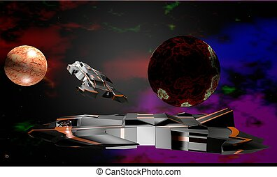 spacecraft, space, image 3D