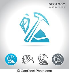 geology blue icon - Geology icon set, collection of mineral...