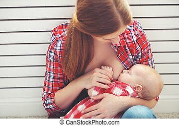 bebê, Amamentando, alimentação, peito, mãe