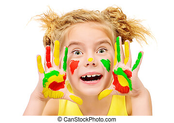 crazy fun - Cute little girl with painted colorful hands...