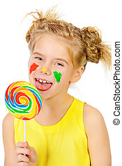 sweet lollipop - Cute little girl with painted colorful...