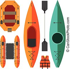 Kayak and raft boats on a white background in orange and...