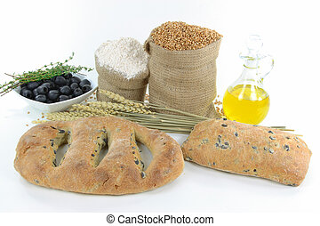 Mediterranean olive breads and raw products.