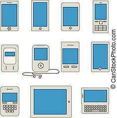 Abstract style modern and vintage mobile gadgets Lineart...