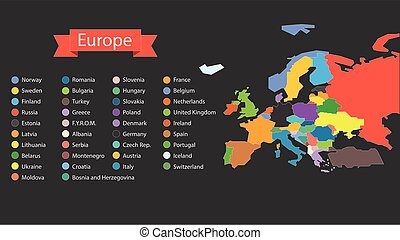 World map infographic template Countries of Europe