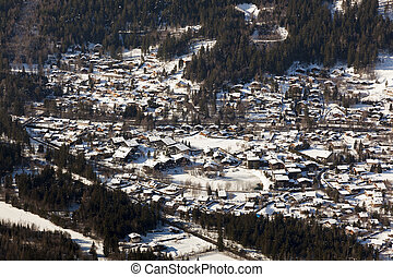 View of Chamonix, Savoie, Rhocirc;ne-Alpes, France - View of...
