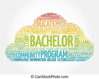 Bachelor word cloud, education concept