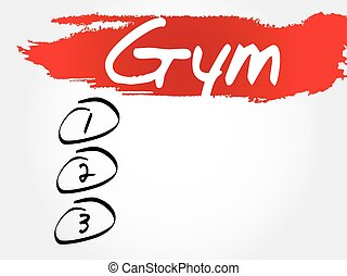 Gym blank list, health concept